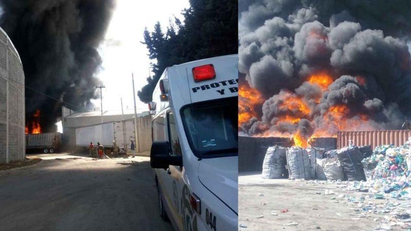 VIDEO: Emergencia en Cuautitlán por fuerte incendio en planta recicladora