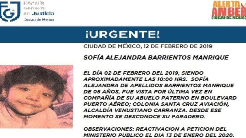 Se reinicia la búsqueda de Sofía, de 5 años; estaba con su abuelo en CDMX