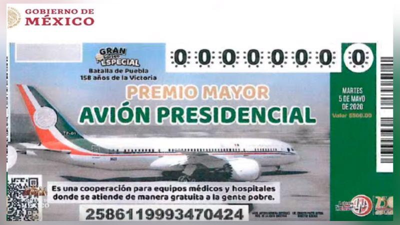 AMLO presenta diseño del boleto para la rifa del avión presidencial