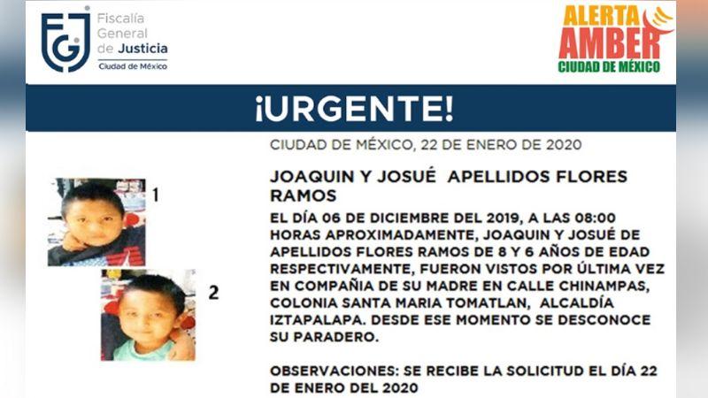 Inicia búsqueda de los hermanos Flores Ramos, de 8 y 6 años en Iztapalapa