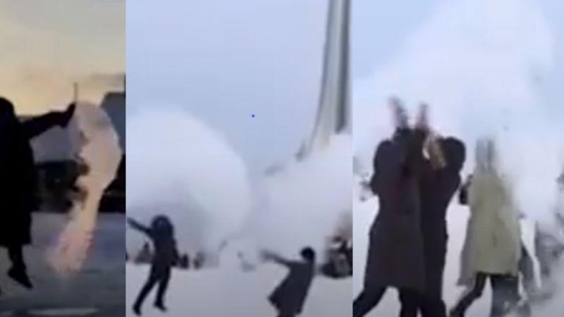 ¡Impresionante! Ciudadanos lanzan agua hirviendo y se congela ante las bajas temperaturas