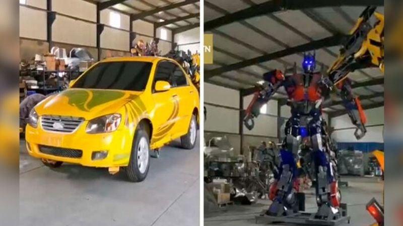 VIDEO: Hombre 'la rompe' y convierte vehículos viejos en 'Tranformers'