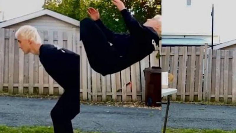 VIDEO: Joven se hace viral al hacer tremenda voltereta e insertar un disco a la vez