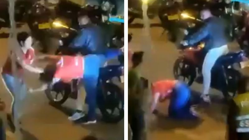 VIDEO: De un tirón de cabello, mujer baja de la moto a la amante de su pareja
