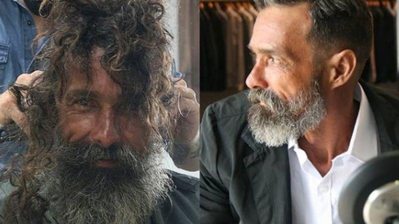 Peluquero le cambia el 'look' a un hombre de la calle y lo convierte en ¡todo un galán!