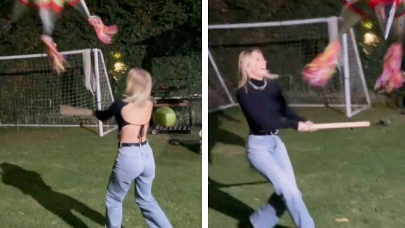 VIDEO: Irina Baeva rompe piñata por primera vez y lo presume en Instagram