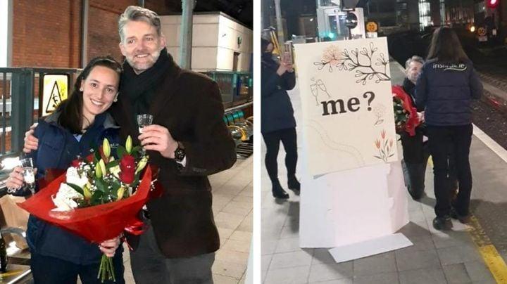 Novio de mujer maquinista la sorprende con propuesta de matrimonio en estación de tren