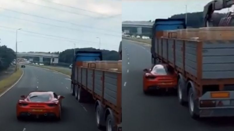 VIDEO: Con increíble maniobra a lo 'Rápido y Furioso', Ferrari pasa debajo de camión en movimiento