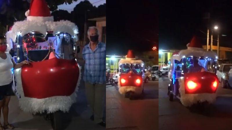 VIDEO: Trineo de 'Santa' recorre las calles de Juchitán y promueve el uso de cubrebocas