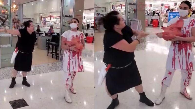 VIDEO: En pleno centro comercial una mujer vegana y una carnicera se pelean
