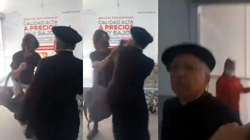 VIDEO: Sacerdote golpea y patea a dos personas que le piden use cubrebocas en supermercado
