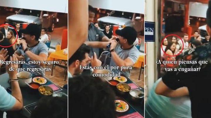 VIDEO: Joven se topa con su exnovia y su actual pareja, le canta 'Ya me Enteré' y así reaccionan