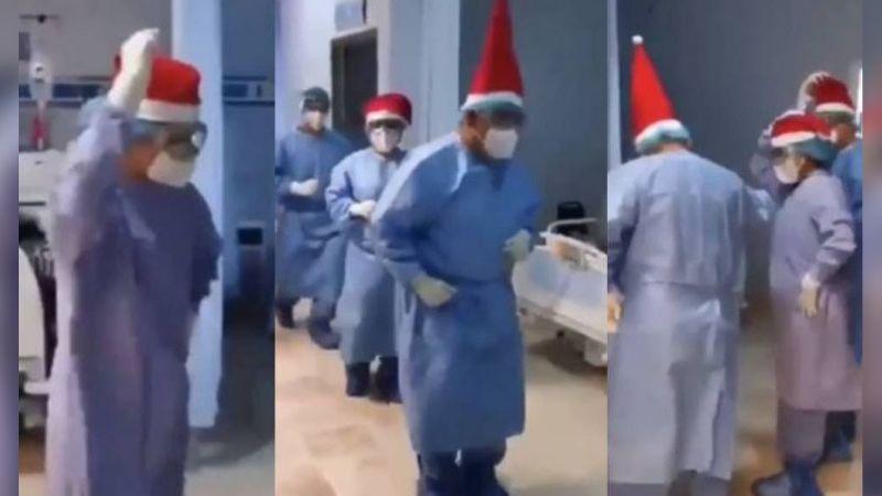 VIDEO: Médicos realizan baile navideño para alegrar a pacientes con Covid-19