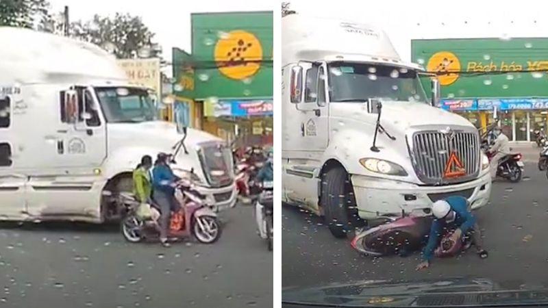 Angustiante momento: Motociclista estuvo a punto de ser aplastada por camión