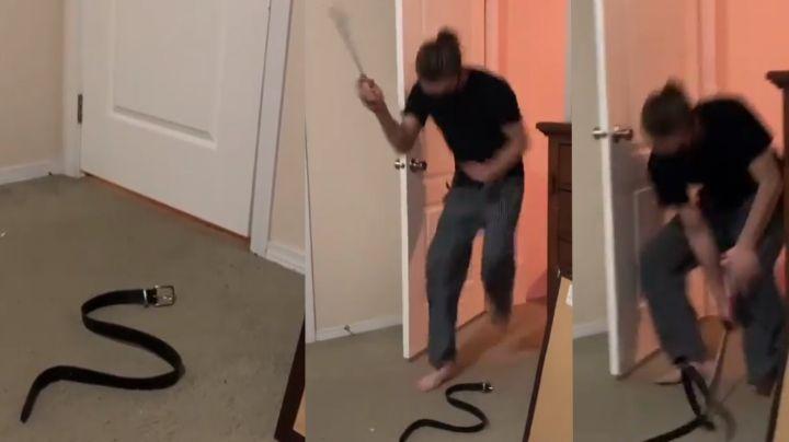 Mujer le juega broma a su esposo con serpiente falsa y su terrorífica reacción se vuelve viral