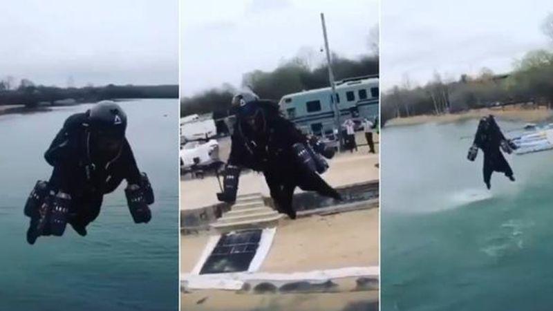 VIDEO: Hombre causa furor en redes al sobrevolar las calles con una jetpack
