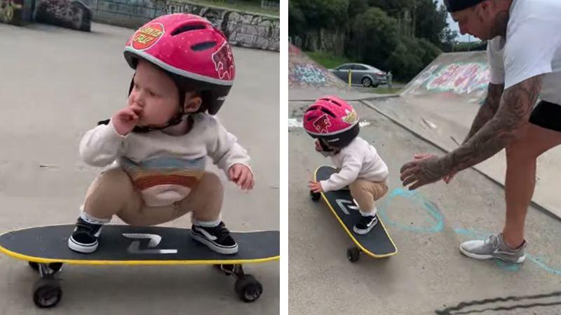 VIDEO: Pequeña niña sorprende al utilizar la patineta con ayuda de su papá