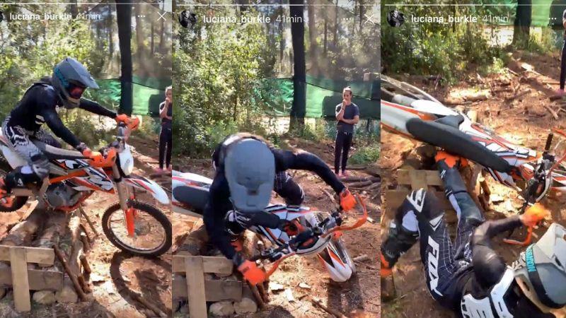 VIDEO: Luciana Burkle, exestrella de 'Guerreros', sufre aparatoso accidente en su moto