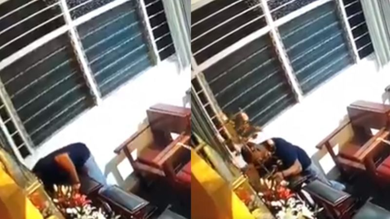 VIDEO: Hombre causa indignación al robarse dinero y hasta las velas de una Iglesia