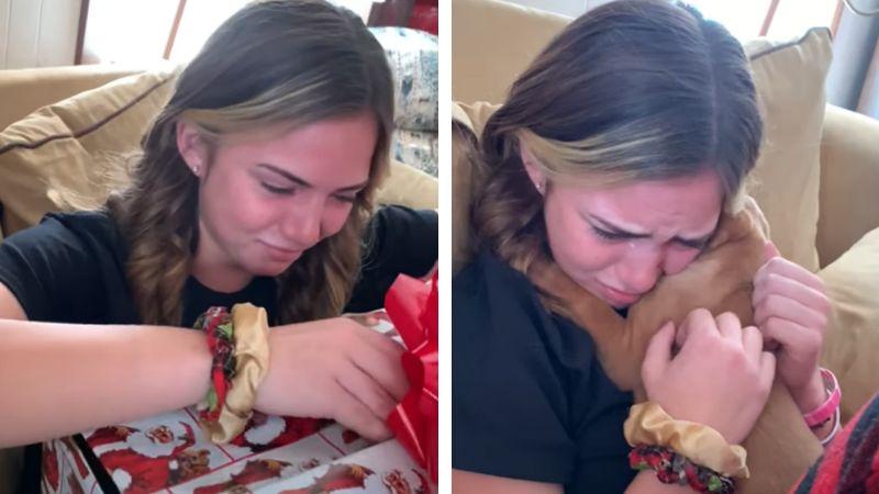 Tras muerte de su perro, jovencita rompe en llano al recibir cachorro en Navidad