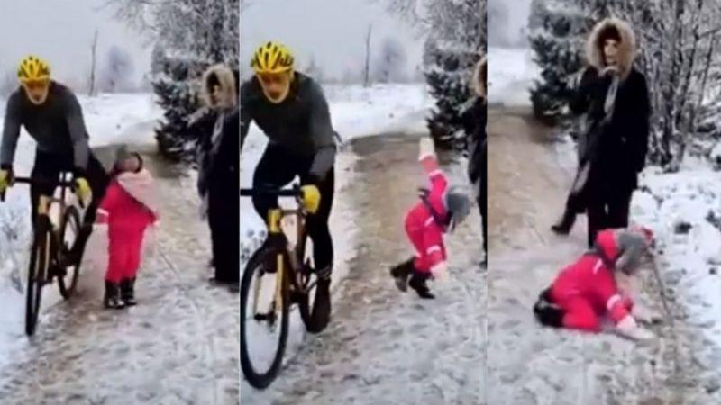 Ciclista golpea a una pequeña que se le atraviesa y no se disculpa porque tocó el claxon