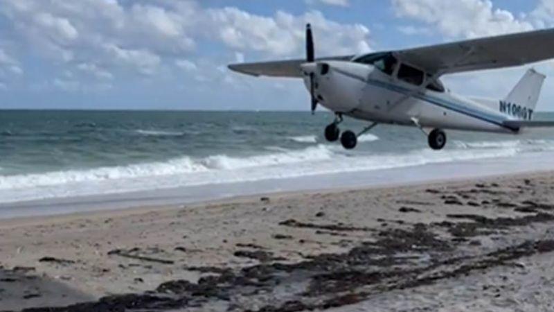 VIDEO: Avioneta aterriza de emergencia en playa de Miami tras sufrir un desperfecto