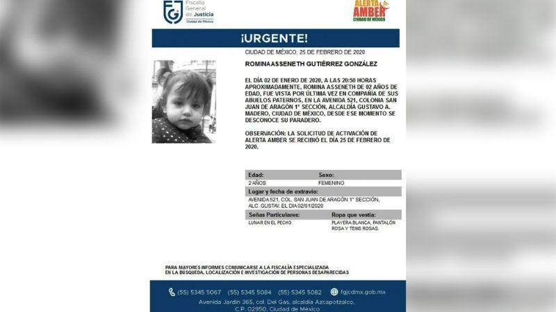 Romina de 2 años desaparece en CDMX; iba en compañía con sus abuelos