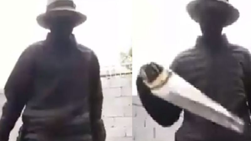 VIDEO: A falta de pistola, sicario novato amenaza a rivales con serrucho