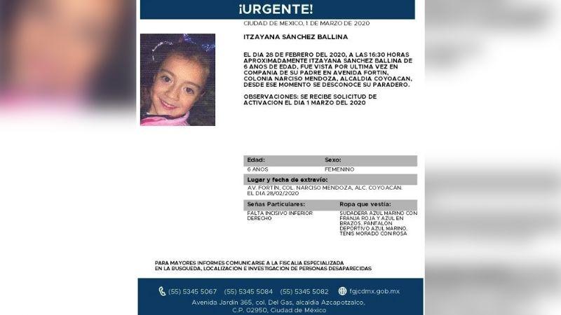 Itzayana Sánchez de 6 años desaparece en CDMX; iba acompañada de su papá