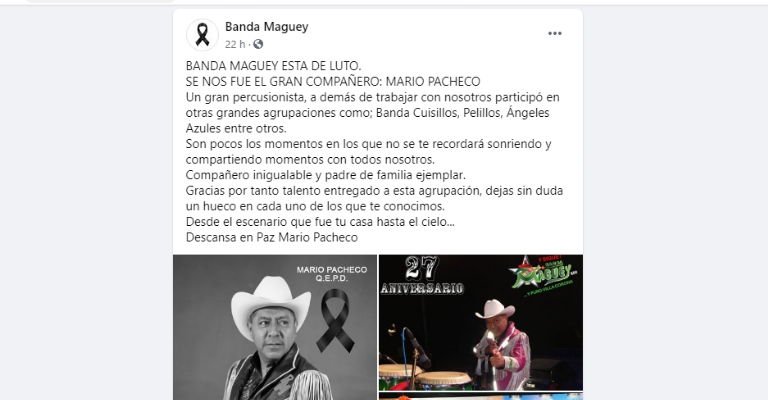 La Banda Maguey de luto, fallece querido integrante