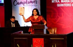 Rosario Quintero, alcaldesa de Navojoa, presenta informe presencial en medio de crisis por Covid-19