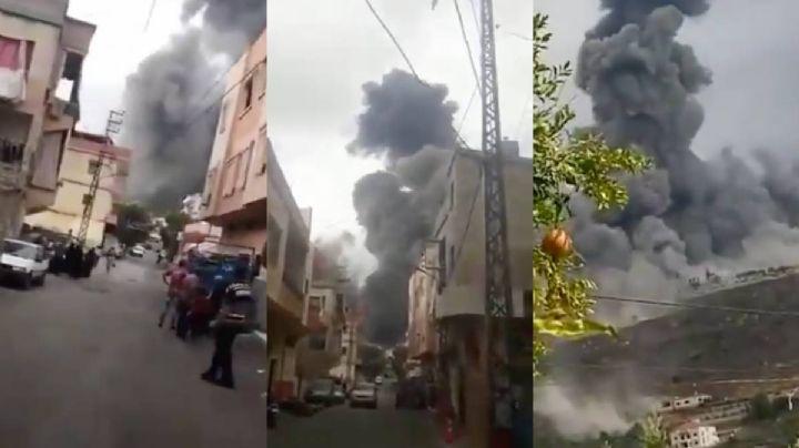 VIDEO: Fuerte explosión sacude al edificio de Hezbolá en el sur del Líbano