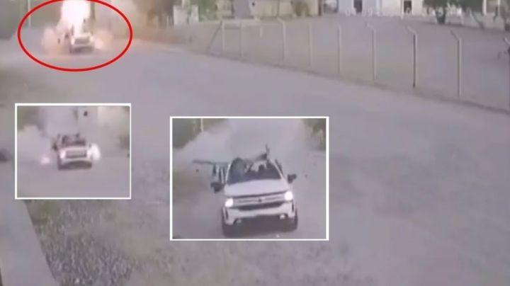 (VIDEO) Así fue como estalló una bomba en la camioneta de un exmilitar en Sonora