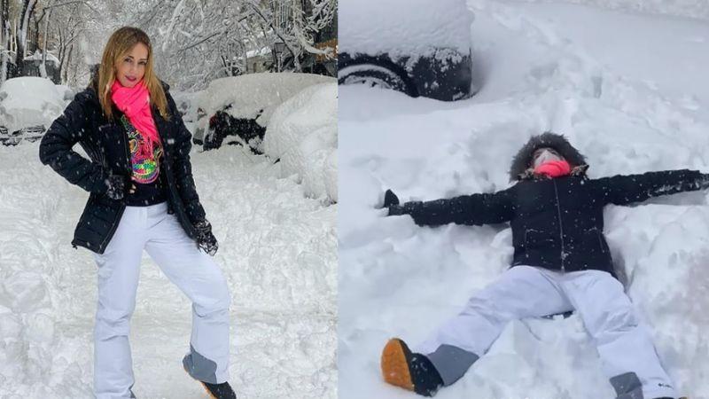 Tras intensa nevada en España, 'La Choco' revela que no es fácil crear un ángel