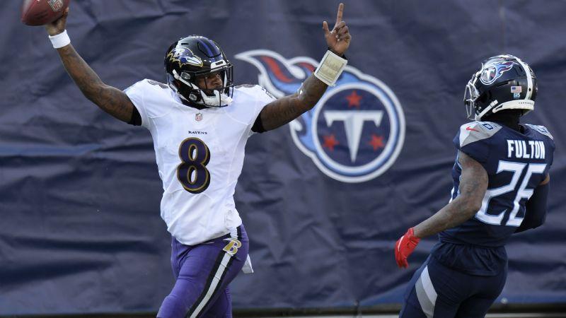 Jackson al fin gana en los playoffs, Ravens vencen a Titans y esperan rival