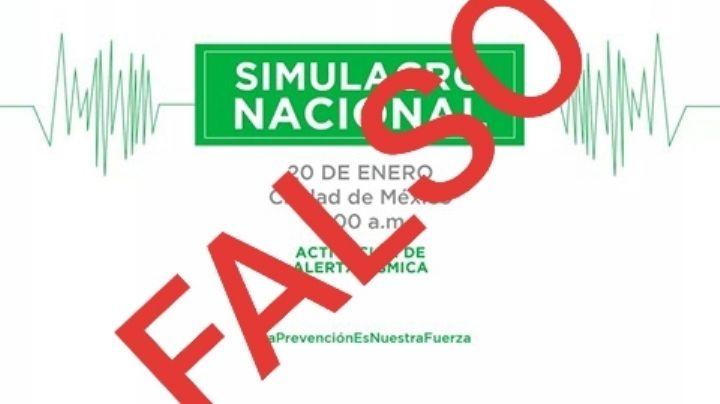 Desmienten realización de simulacro nacional este 20 de enero