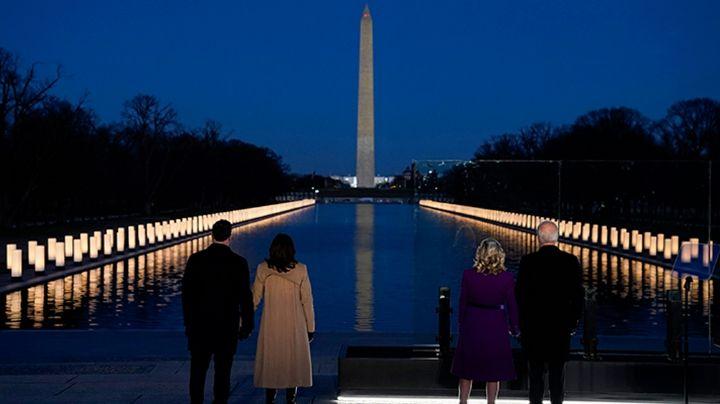 Previo a su investidura, Joe Biden y Kamala Harris rinden homenaje a víctimas del Covid-19