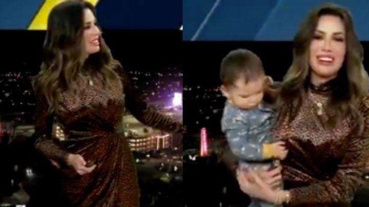 VIDEO: ¡Tierna interrupción! Conductora es sorprendida por su bebé en pleno programa en vivo