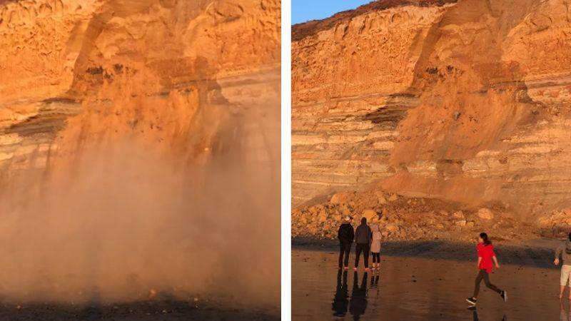 VIDEO: El sorpresivo momento en que un acantilado de California sufre deslave