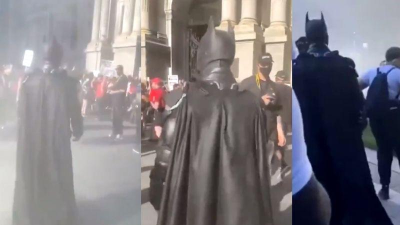 'Batman' se hace presente en las protestas del Capitolio en EU y redes enloquecen