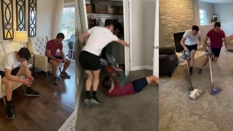 VIDEO: Para evitar regañó, jóvenes limpian su casa al estilo de 'Flash'