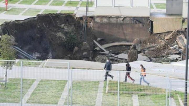 Enorme socavón se forma en estacionamiento de hospital en Italia; evacúan a pacientes