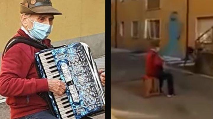 Anciano que tocaba el acordeón para su esposa hospitalizada; da positivo al Covid-19: VIDEO