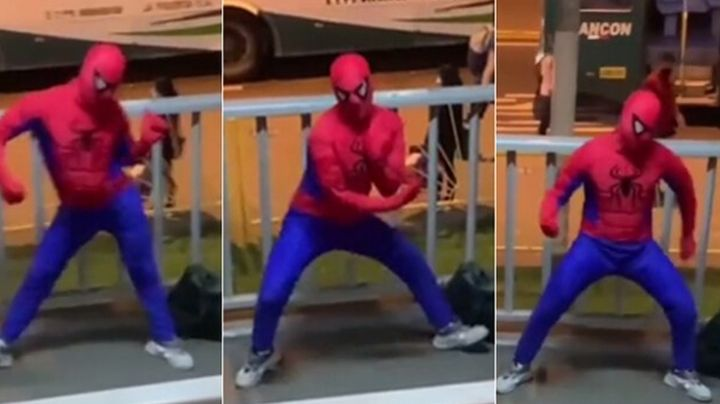 VIDEO: 'Spider-Man' baila 'Bichota' en una avenida y se hace viral en redes sociales