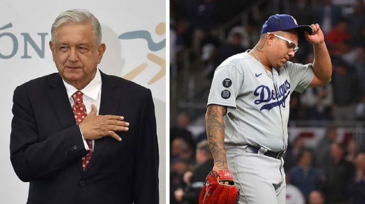 """No cambia su quiniela: AMLO confía en Dodgers pese a """"maltrato"""" de Bravos a Julio Urías"""
