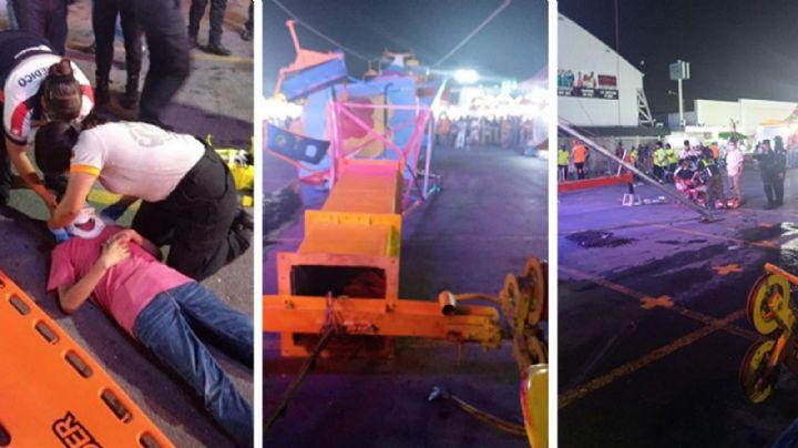 Colapsa juego mecánico en feria de Nuevo León; cuatro personas resultaron lesionadas