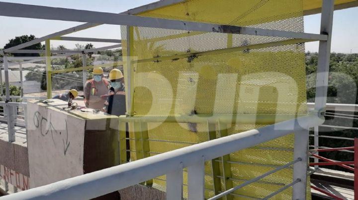 Cajeme: Puente peatonal ubicado en Esperanza recibe mantenimiento; le colocaron una jaula