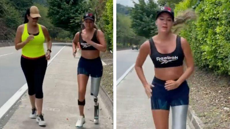 Daniella Álvarez, exMiss Colombia, cumple su sueño de volver a trotar tras perder pierna