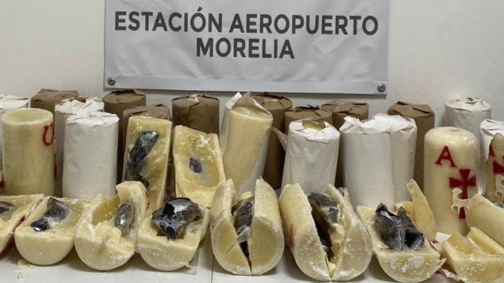 Descubren veladoras rellenas de metanfetamina en aeropuerto de Morelia; Iban a Texas
