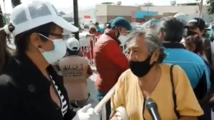 ¿Servidora de la Nación? Mujer niega vacuna Covid-19 a 'abuelito' por no tener registro